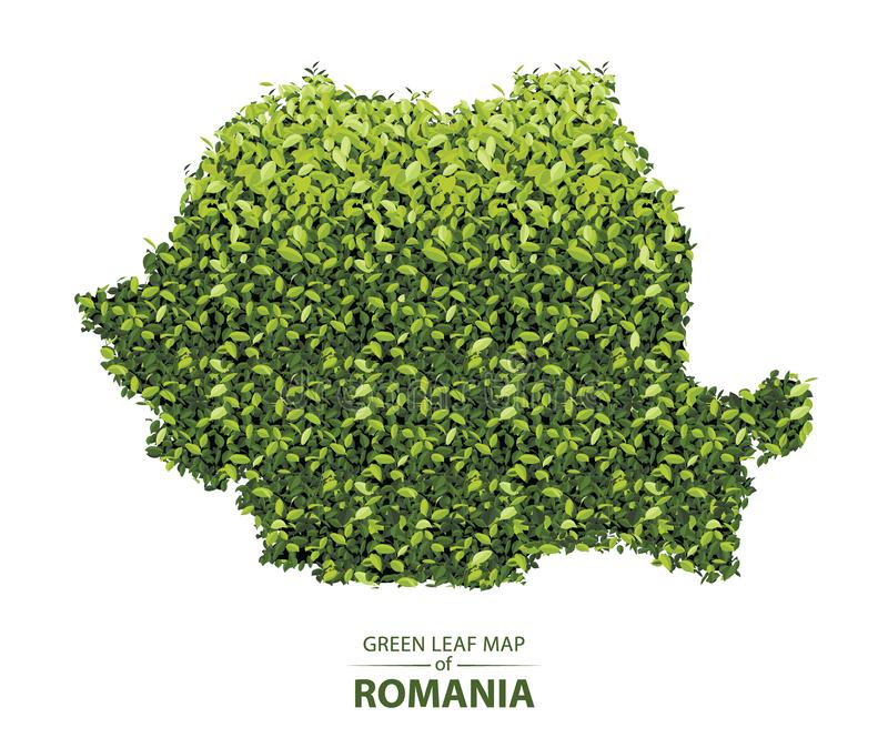 Green leaf map of romania vector illustration of a forest is concept. Romania map made up of green leaf on white background vector illustration of a forest is royalty free illustration
