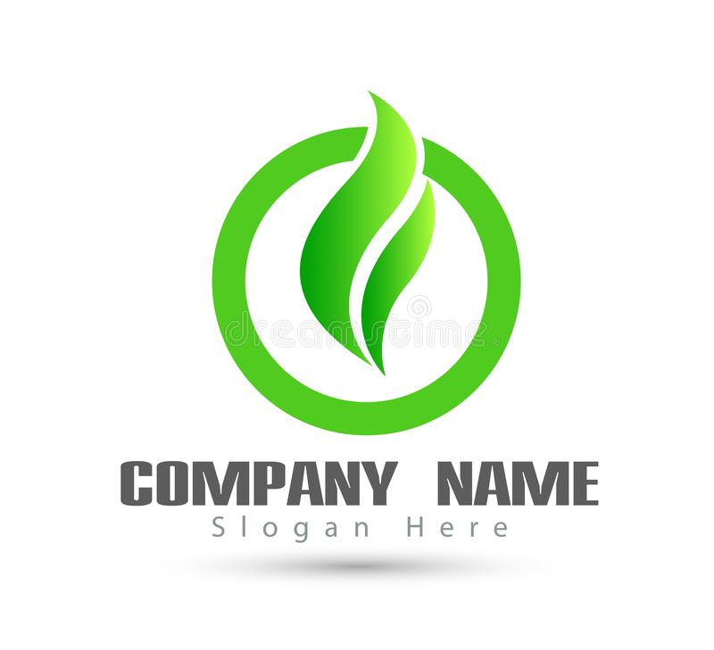 Green leaf new trendy logo stock illustration