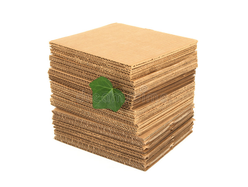 Download Green Leaf And Pile Of Cardboard Stock Photo - Image: 7861822