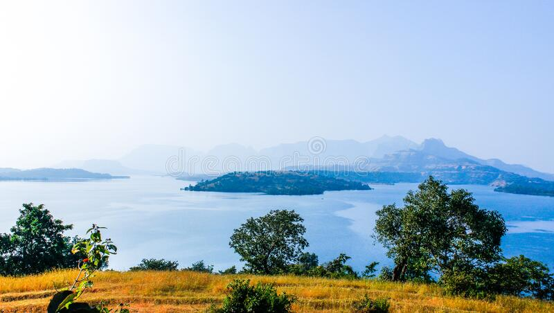 Green Leaf Plant In Front Of Mountain Surrounded Of Body Of Water Free Public Domain Cc0 Image