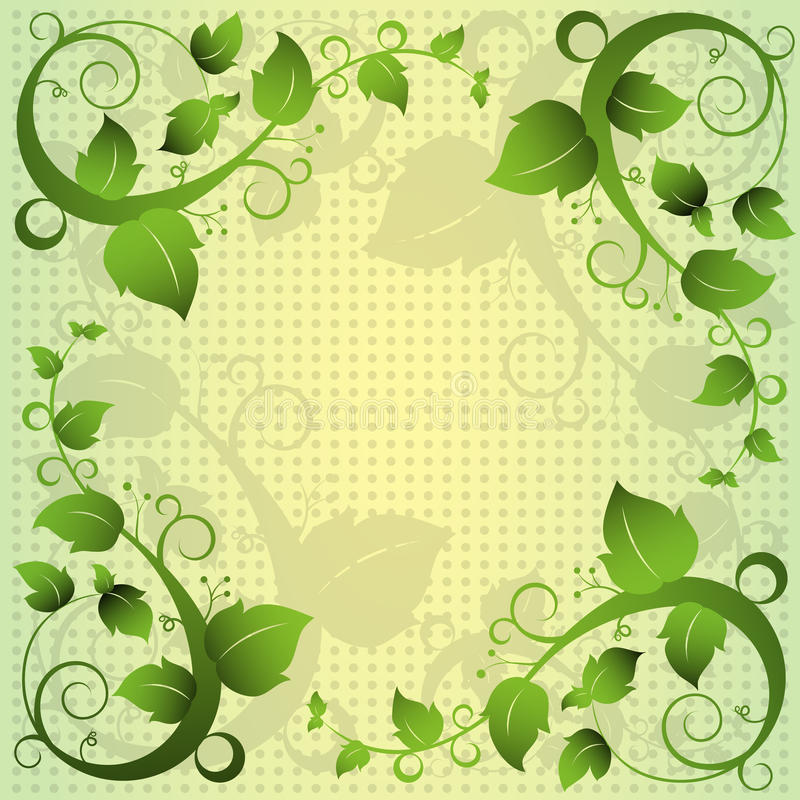 Green Leaf Swirl Abstract Frame Background royalty free illustration