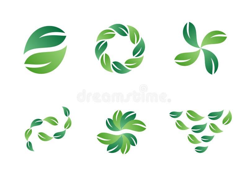Green Leaf Vector Logo Designs stock illustration