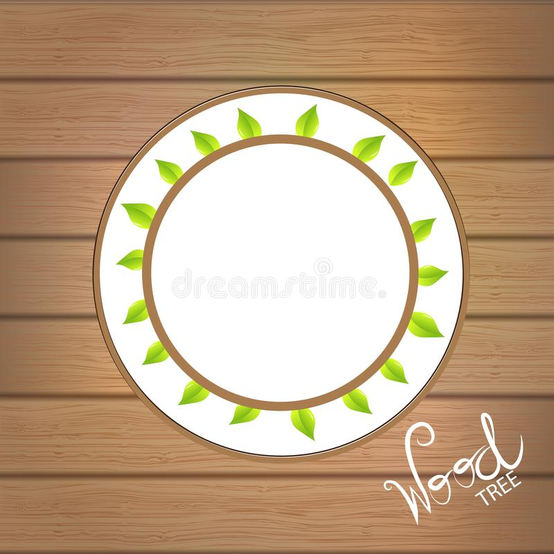 Green leafs health nature plate. Wood background template royalty free illustration