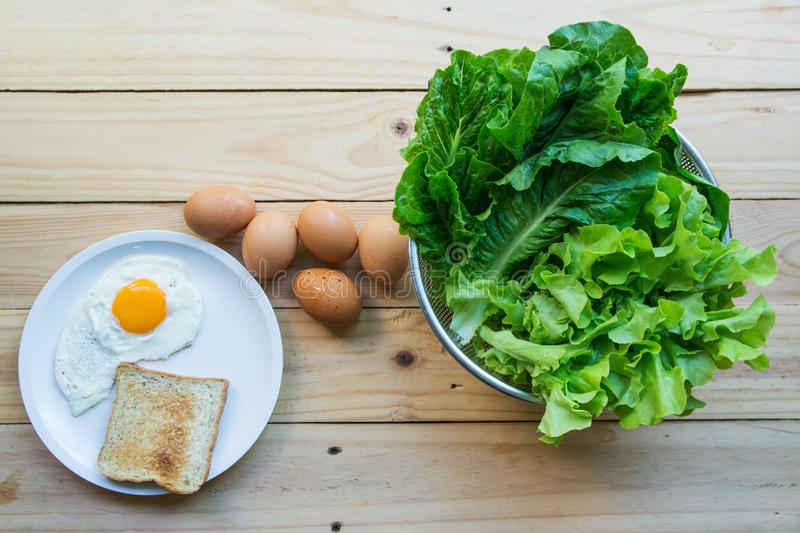 Green leafy vegetables with eggs stock photos