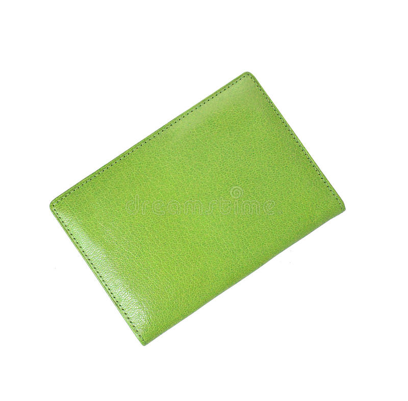 Green leather case note book royalty free stock photo