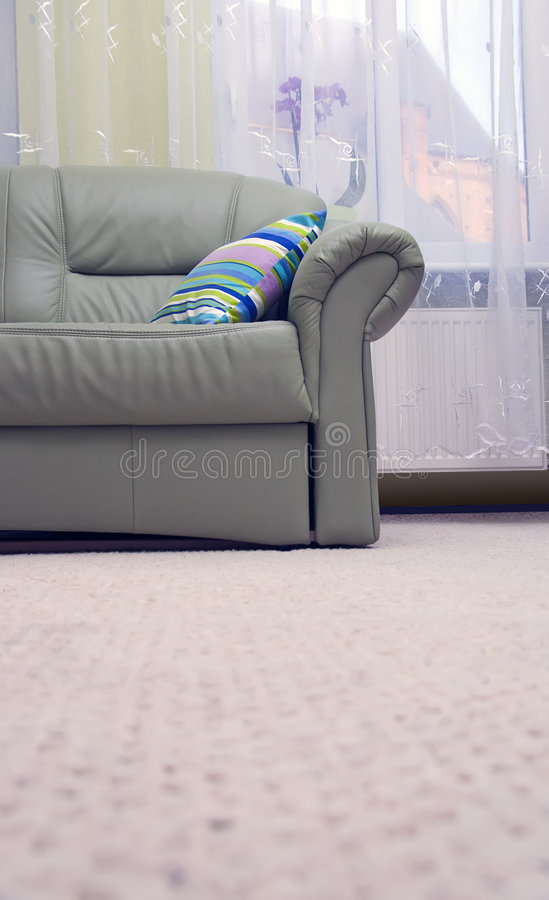 Download Green leather sofa stock image. Image of livingroom, comfort - 3688403