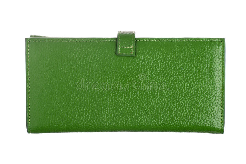 Green leather wallet. Isolated over white background royalty free stock photography