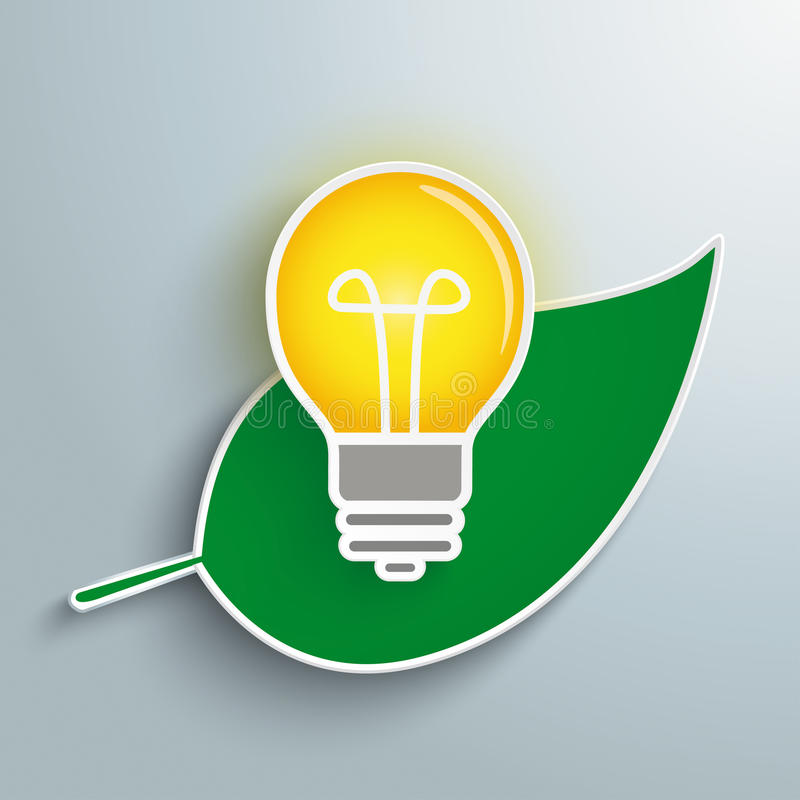 Green Leave Bulb. Green leave with a bulb on the gray background stock illustration