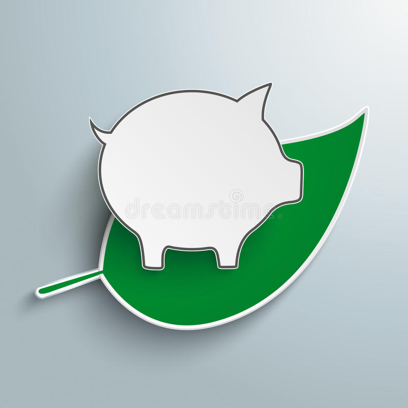 Green Leave Piggy Bank. Green leave with piggy bank on the gray background royalty free illustration