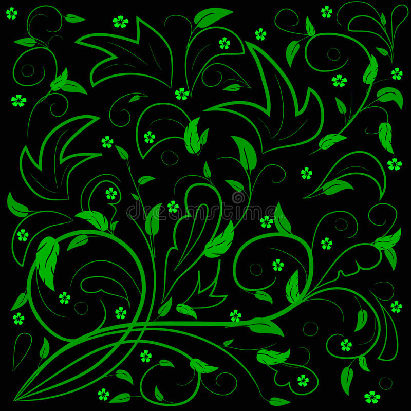 Green leaves with abstract swirls. Green leaves with abstract swirls on a black background. Can be used as a background, decor, decoupage, textile, invitation royalty free illustration