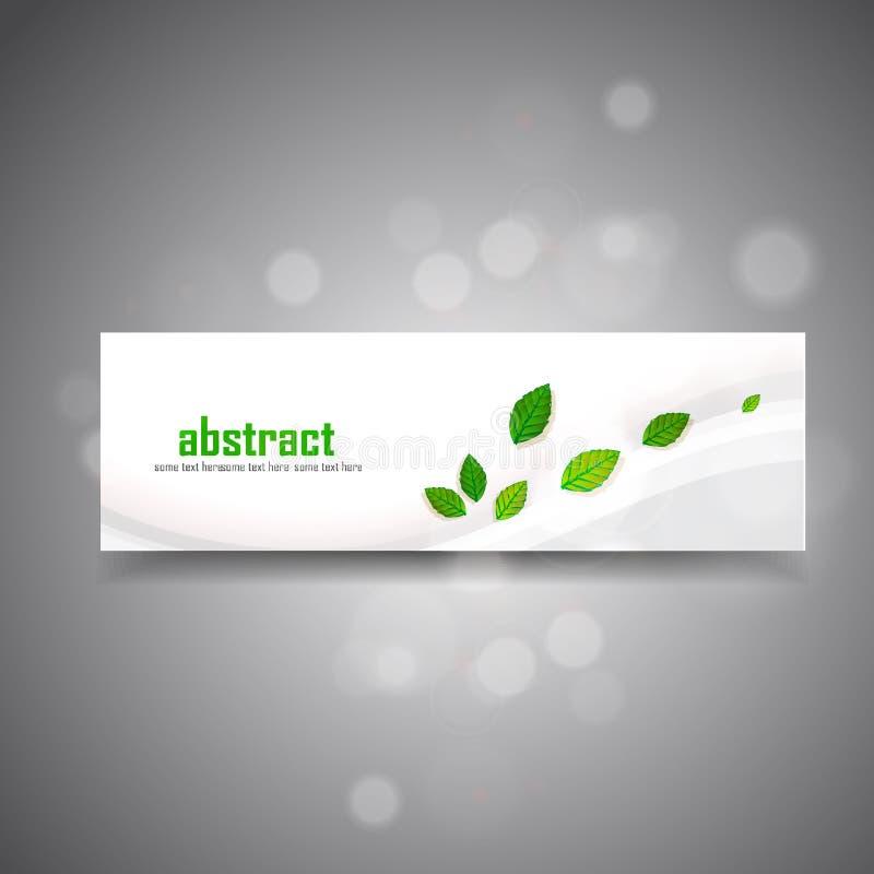 Green leaves banner. On gray stock illustration