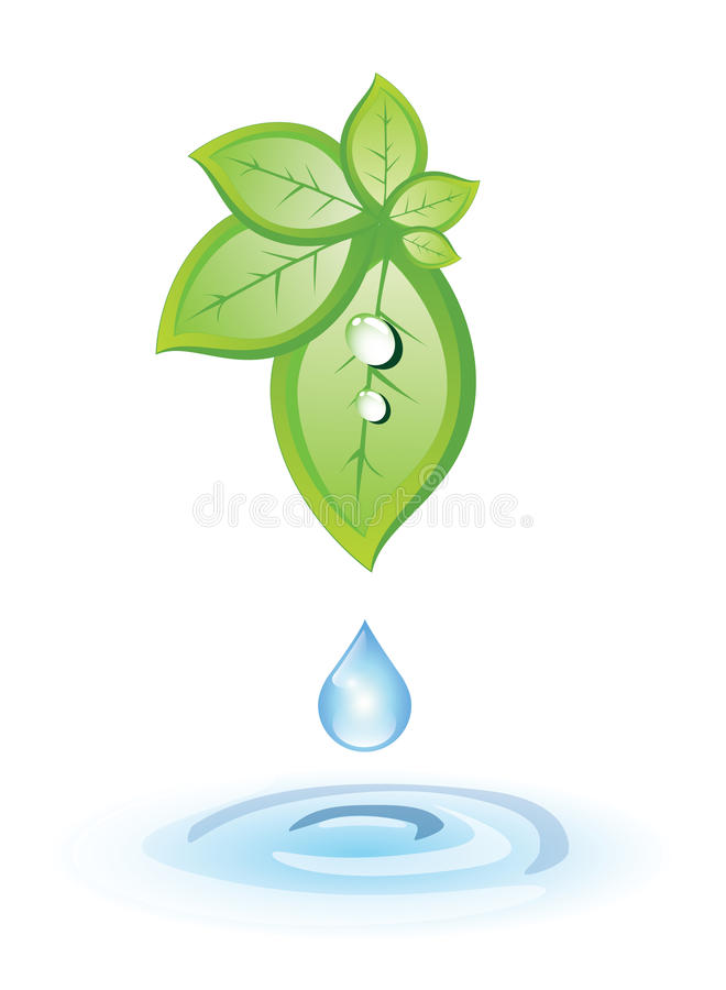 Green leaves and blue drop royalty free illustration