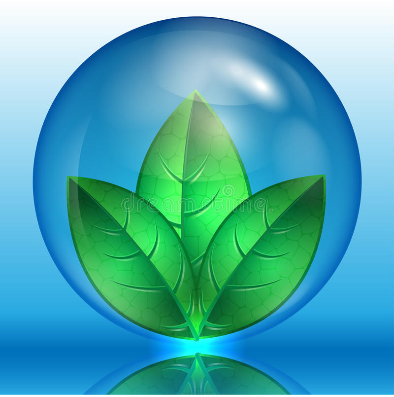 Green leaves in a blue sphere stock illustration