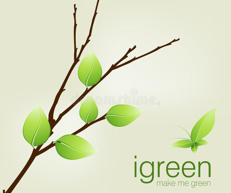 Green leaves on branch. Illustration of green leaves on a tree branch with the slogan i green make me green vector illustration
