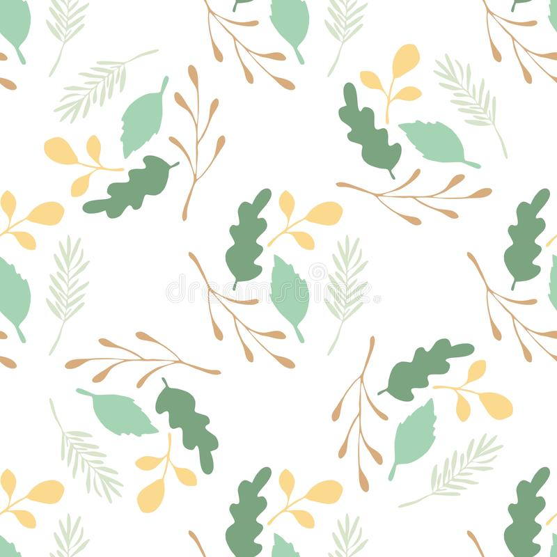 Green leaves and branches vector seamless pattern on white background vector illustration
