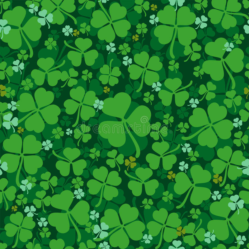Green leaves clover seamless pattern. Lucky Clover leaf. Four-leaf and trifoliate clover vector illustration