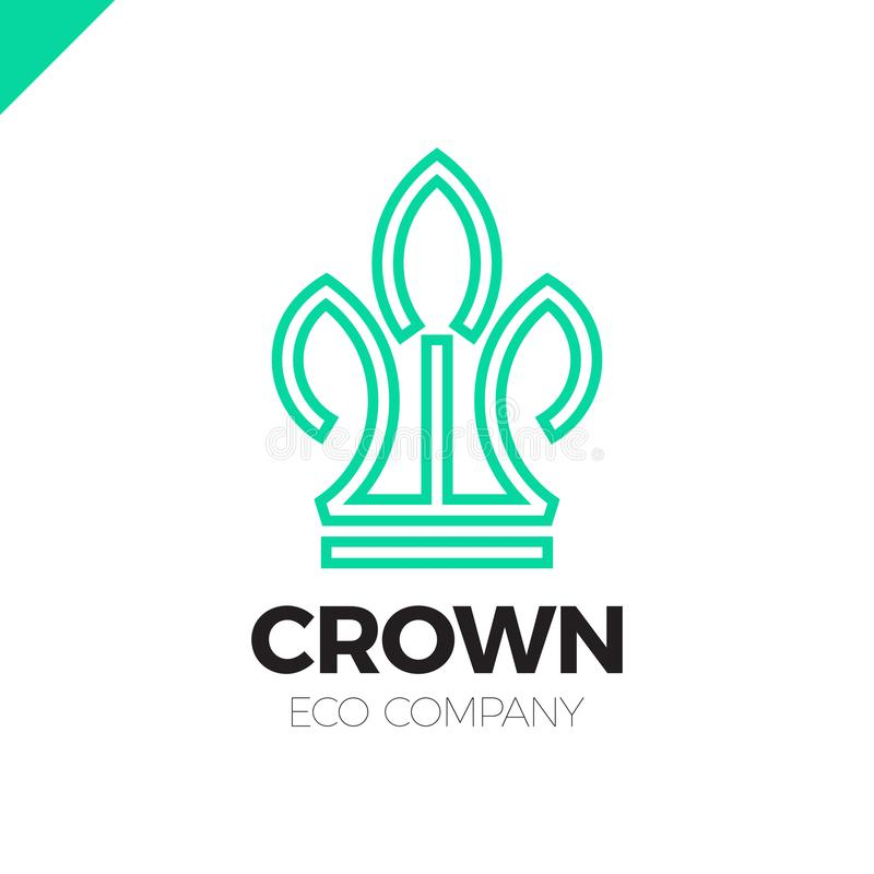 Green Leaves Crown abstract Logo design vector template.Eco nature Creative Business Logotype concept icon. royalty free illustration