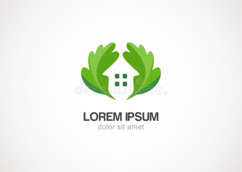 Green leaves eco home, vector logo design template stock illustration