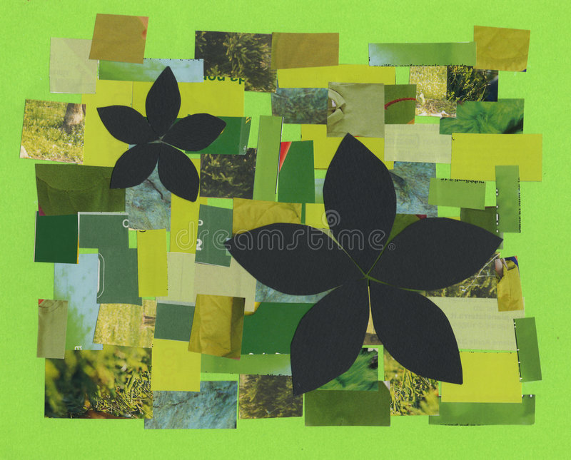 Green leaves and flowers stock illustration