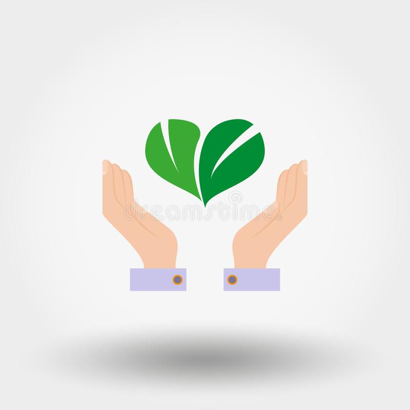 Green leaves in the form of heart on hand. Environmental protection. Icon. Vector. Flat. stock illustration