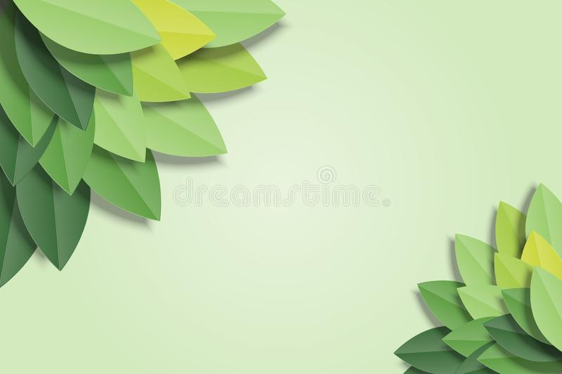 Green leaves frame on green background. Trendy origami paper cut style vector illustration.  stock illustration