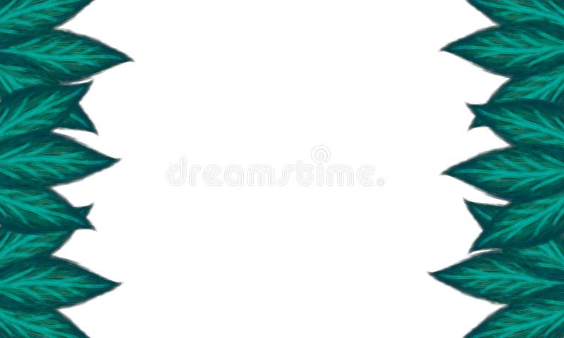 Green leaves frame on white background copy space 3D illustration. Green leaves foliage frame on white background copy space in the centre 3D illustration stock illustration