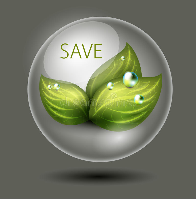Green leaves in a glossy sphere royalty free illustration
