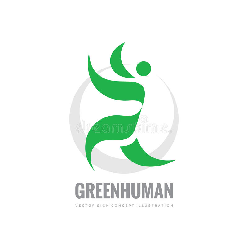 Green leaves human character - vector logo template concept illustration. Healthy sign. Ecology symbol. Ecosystem icon. Organic. stock illustration