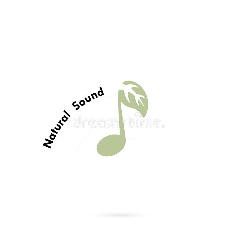 Green Leaves Icon With Musical Note Vector Logo Design Template