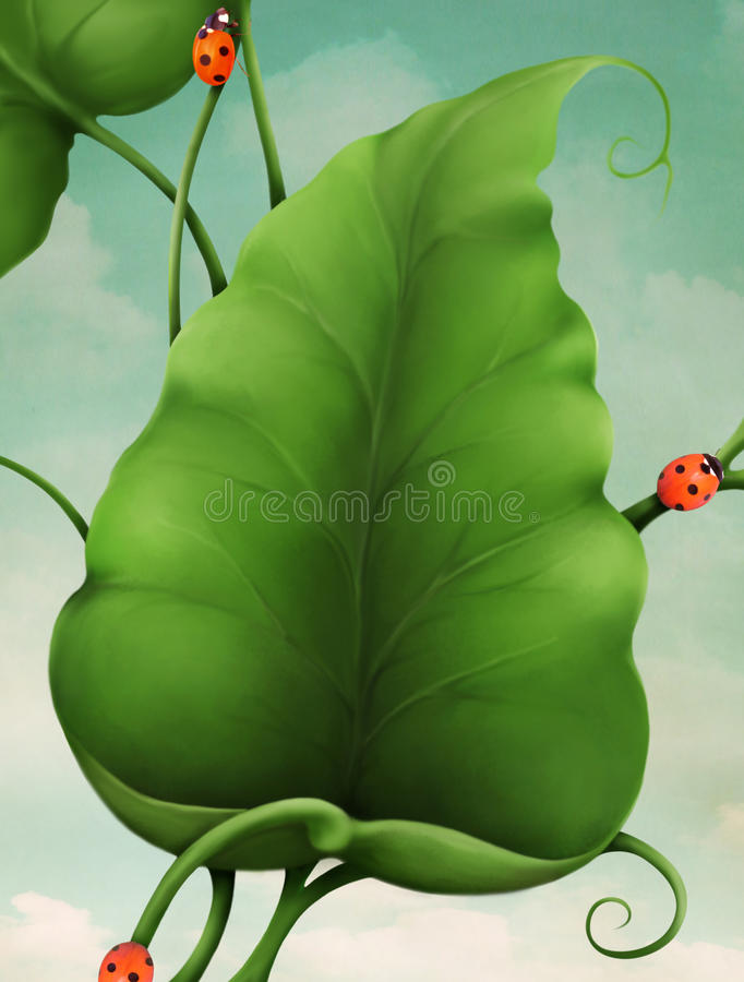 Green Leaves and Ladybugs vector illustration