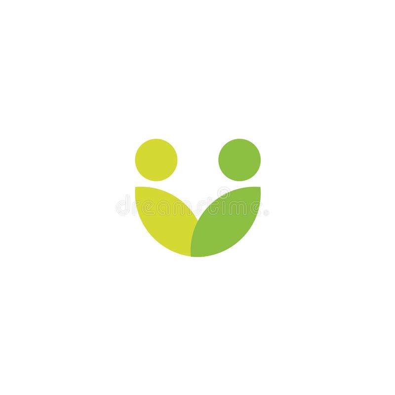 Green leaves logo, abstract stylized people icon, vegan community, people health care, organic food symbol royalty free illustration