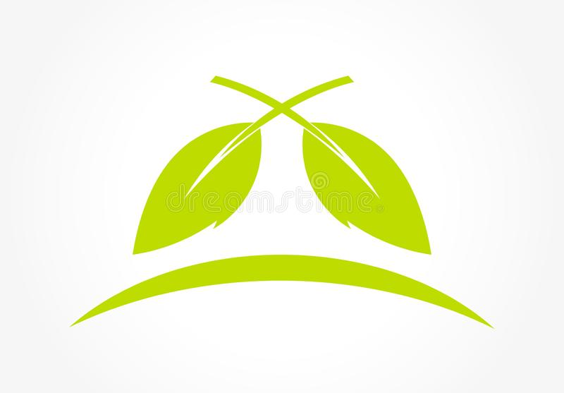 Green leaves logo concept royalty free illustration