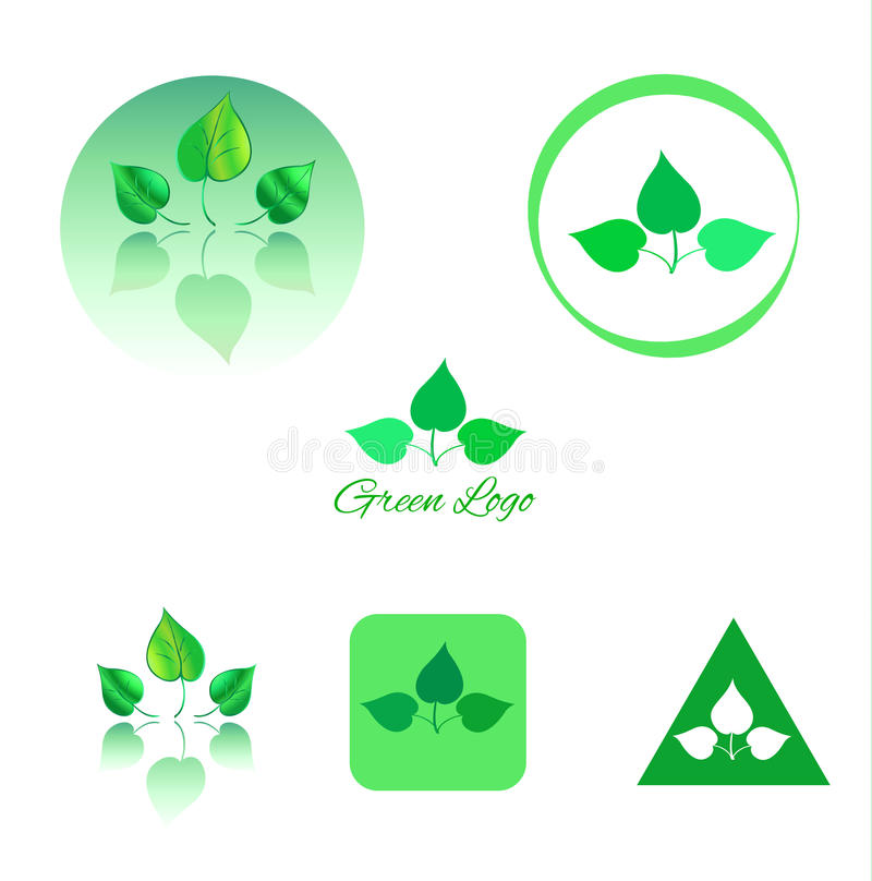 Green Leaves Logo and icon vector illustration