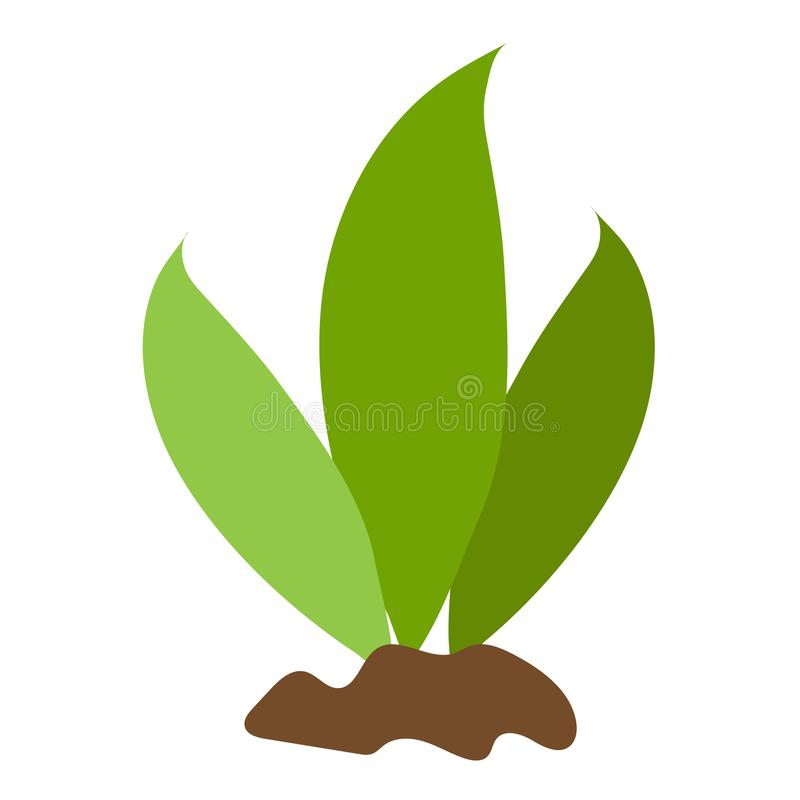 Green leaves, plant on the ground shrubs. Color illustration on farming, growing of plants.  vector illustration