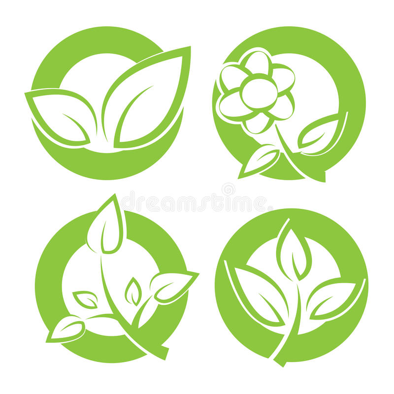 Green leaves round stickers stock illustration