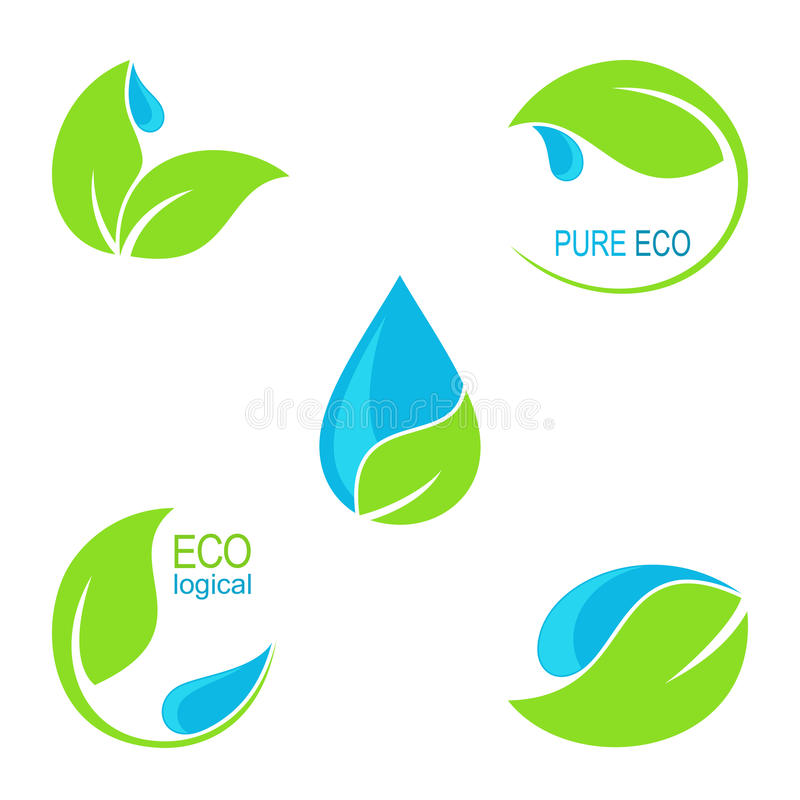 Green leaves and water droplets icons. Set of icons, emblems and frames with green leaves and water droplets for ecology, natural and organic health care, beauty stock illustration
