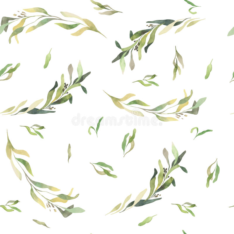 Green leaves watercolor seamless background. vector illustration