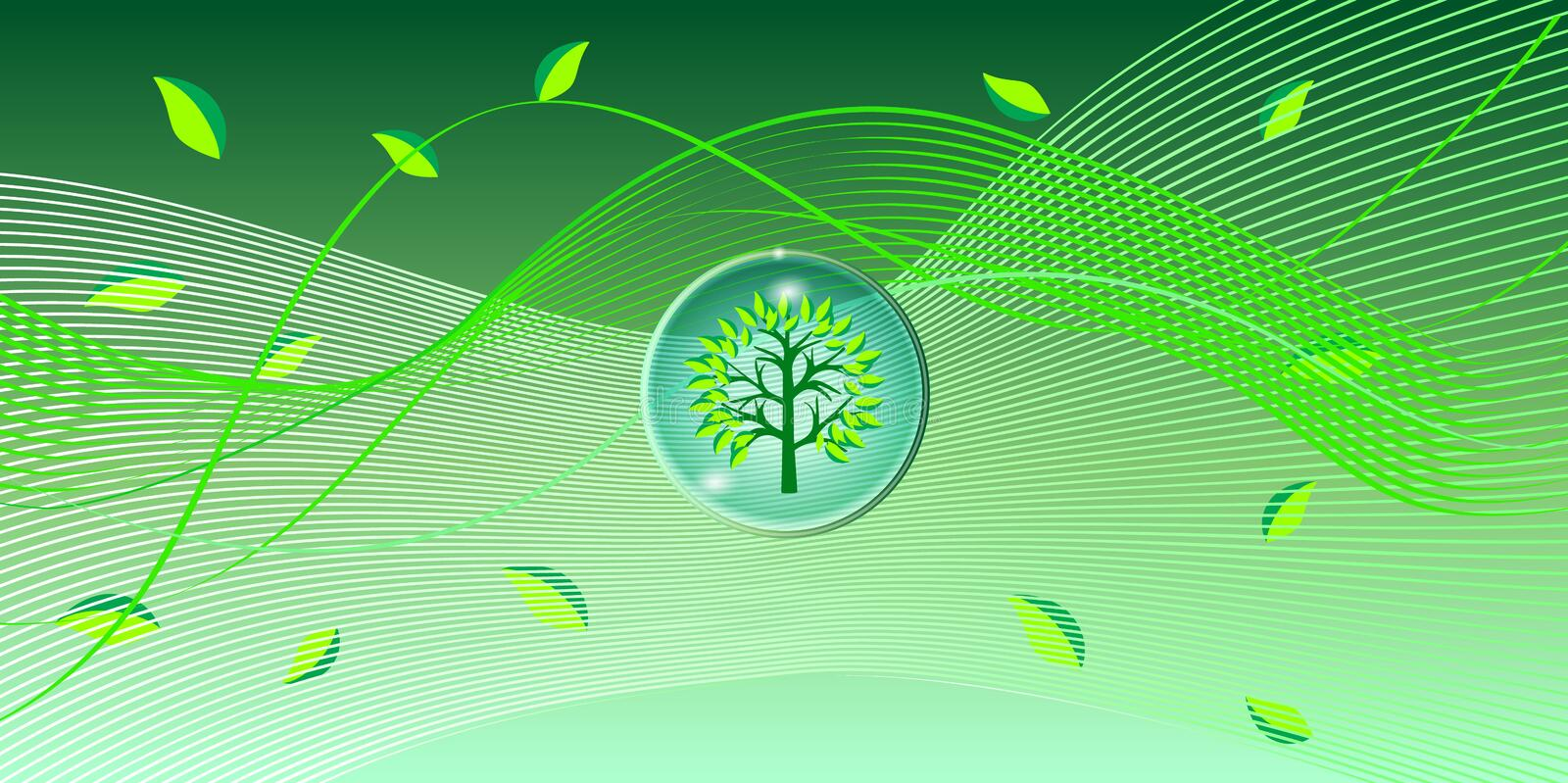 Green leaves wave background. Vector. Digital illustration. Green leaves of the trees on colorful abstract wave background. For art, print, web, wallpaper stock illustration