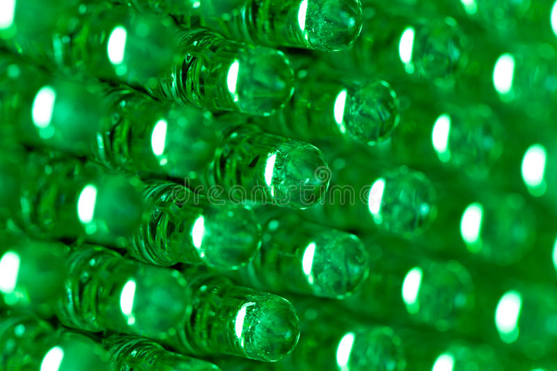 Green led diode display panel. Selective focus. Shallow depth of field royalty free stock photography