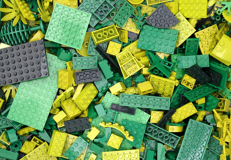 Green Lego blocks, bricks and pieces. Tambov, Russian Federation - July 12, 2016 Background of green Lego blocks, bricks and pieces. Studio shot royalty free stock photos