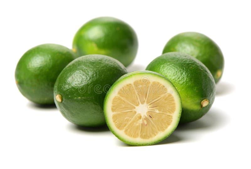 Green lemon and slice stock photos