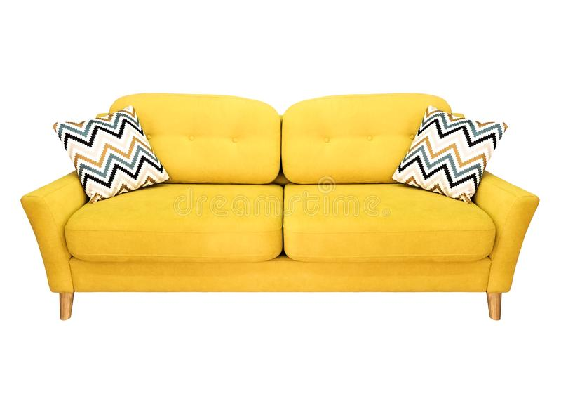 Green lemon yellow sofa with pillow. Soft lemon couch. Modern divan on isolated background stock photo