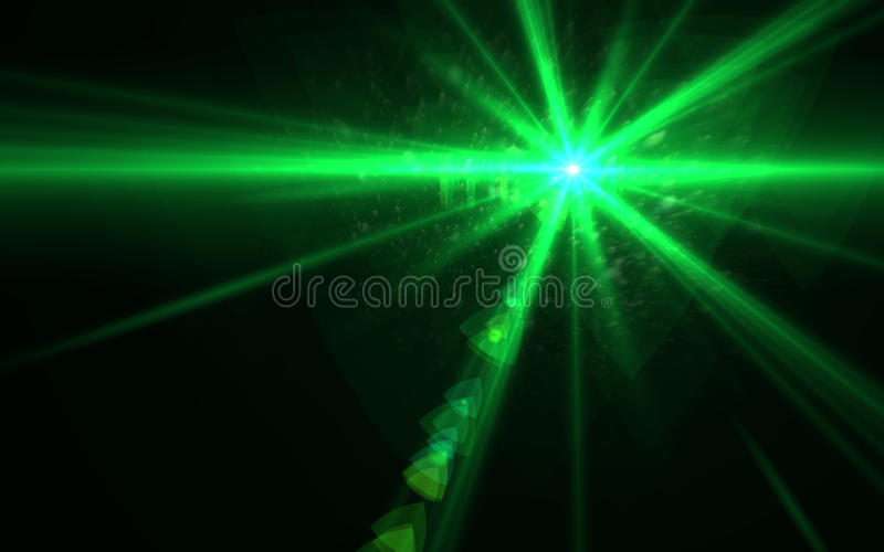 Green Lens flare light over black background. easy to add overlay or screen filter over Photos.. stock illustration