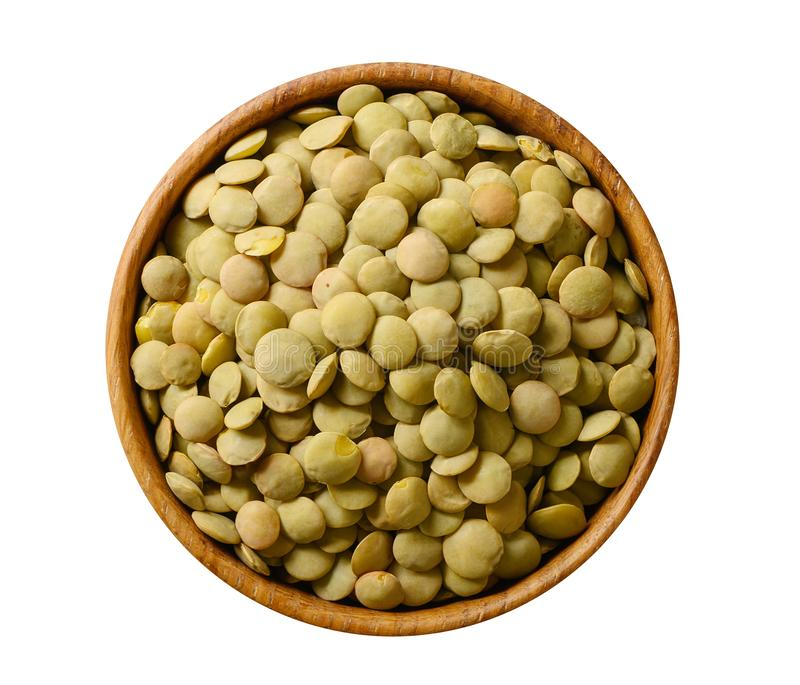 Bowl of green lentil isolated on white background stock photo