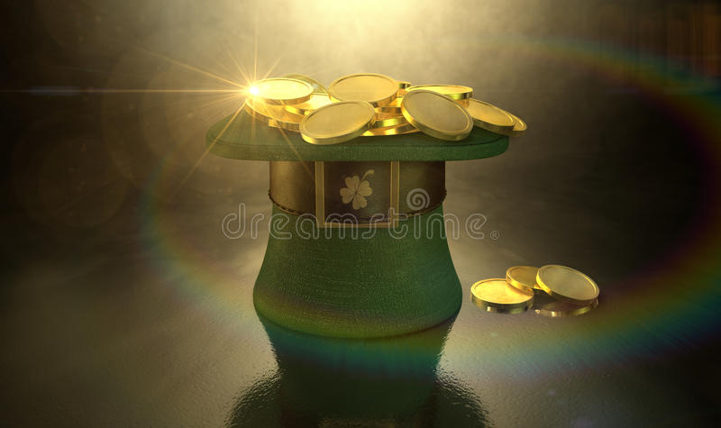 Green Leprechaun Hat Filled With Gold Coins. A green material leprechaun hat with a brown leather band emblazened with a gold shamrock and buckle filled with stock image