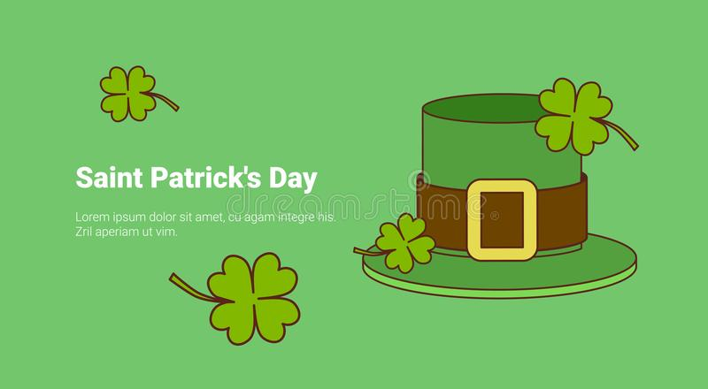 green leprechaun hat and lucky clover leaves on saint patricks day