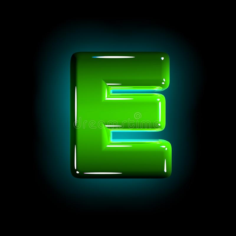 Green letter E of glossy plastic alphabet of white and yellow colors isolated on black color - 3D illustration of symbols. Glossy green plastic creative alphabet stock illustration