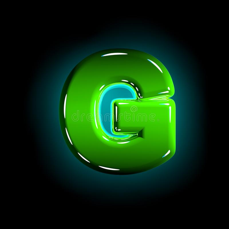 Green letter G of shine plastic alphabet of white and yellow colors isolated on black color - 3D illustration of symbols. Shine green plastic design font royalty free illustration