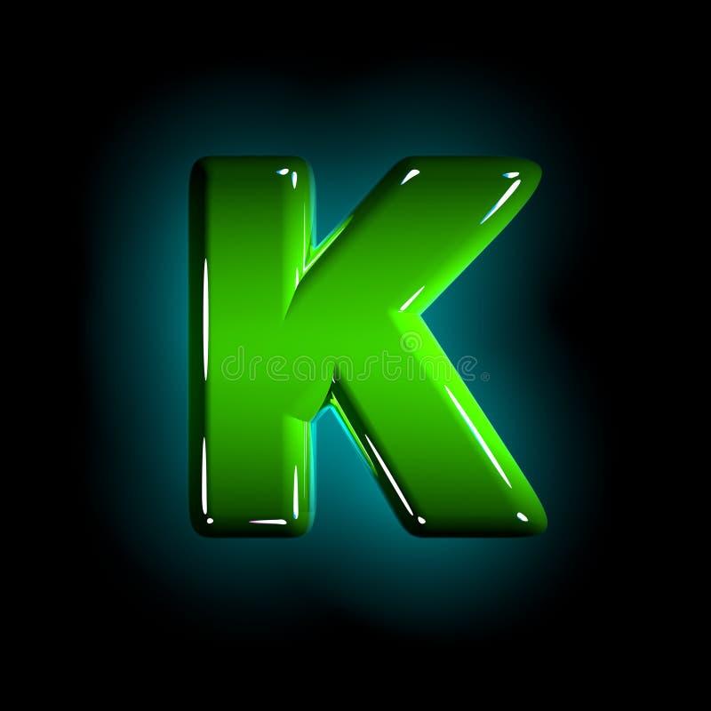 Shining green plastic design font - letter K isolated on black background, 3D illustration of symbols. Green letter K of polished plastic alphabet of white and royalty free illustration