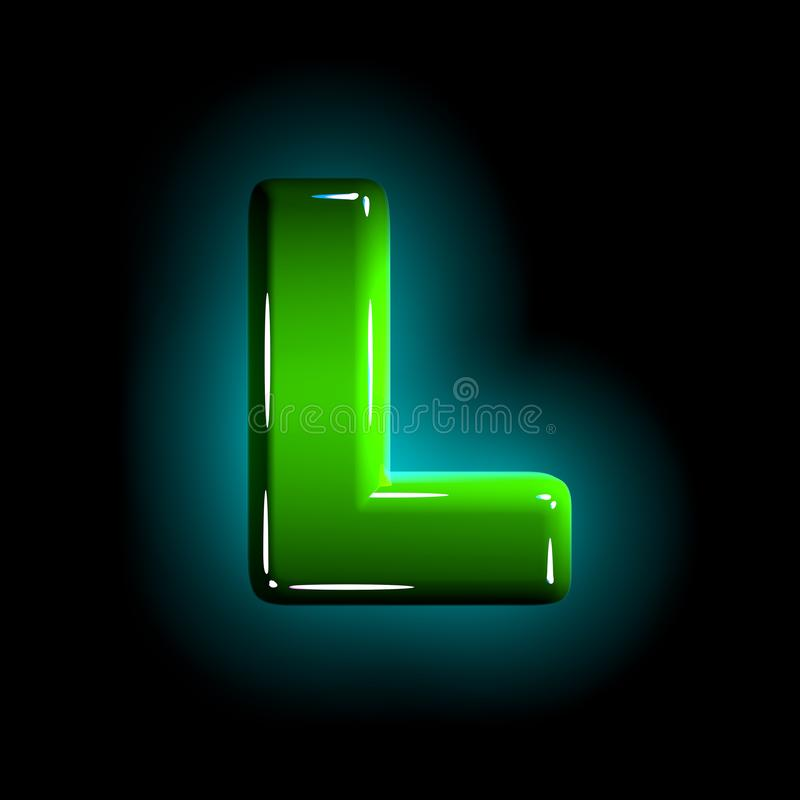 Green letter L of glossy plastic alphabet of white and yellow colors isolated on black color - 3D illustration of symbols. Shine green plastic design alphabet vector illustration